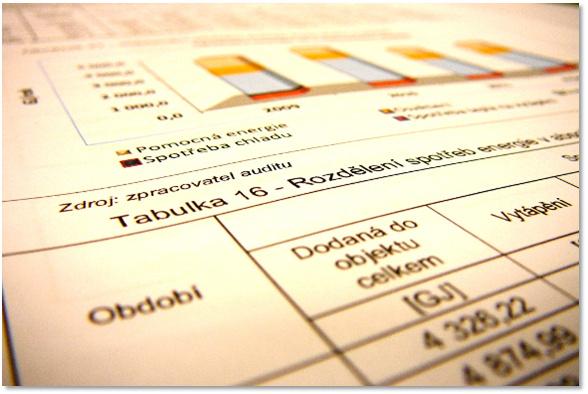 Pohled na energetický audit - část tabulky srovnávající celkové spotřeby energie v jednotlivých letech