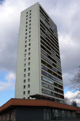 Příklad panelového bytového domu v Praze